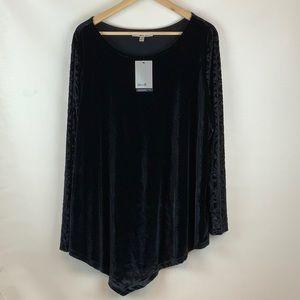 Seven7 Velvet Silky Stretch Blouse Long Sleeve